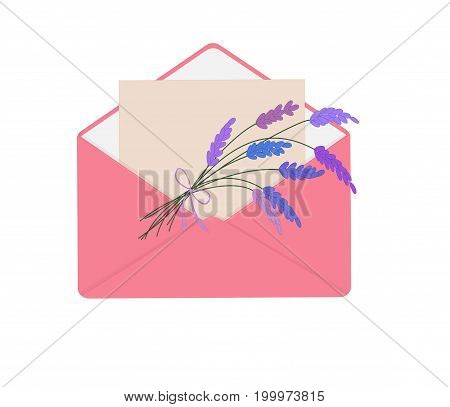 Letter in pink envelope with bouquet of lavender. Romantic conception. Isolated on white background. Letter on Valentine's Day, flat icon. Vector illustration.  Horizontal location.