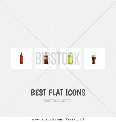 Flat Icon Drink Set Of Fizzy Drink, Bottle, Drink And Other Vector Objects