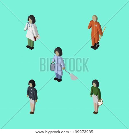 Isometric Person Set Of Cleaner, Pedagogue, Doctor And Other Vector Objects