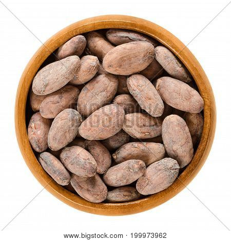 Cocoa beans in wooden bowl. Dried and fully fermented seeds of Theobroma cacao. Brown cacao beans. Aztec gold. Basis of chocolate. Isolated macro food photo close up from above on white background.