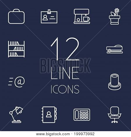 Collection Of Chair, Coffee Maker, Telephone And Other Elements.  Set Of 12 Bureau Outline Icons Set.