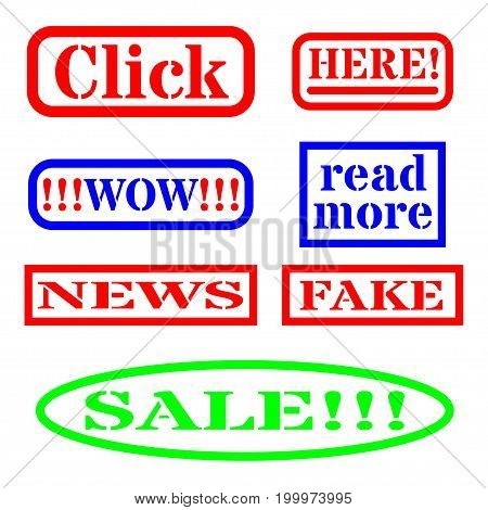 Click bait, signs for web vector set