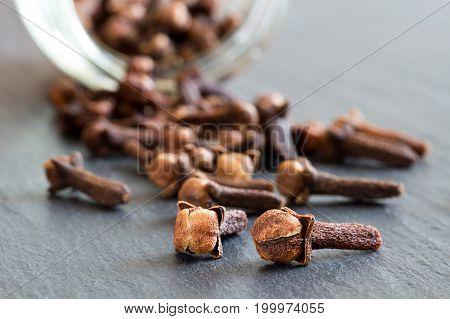 Dry Cloves (spice) On A Dark Background