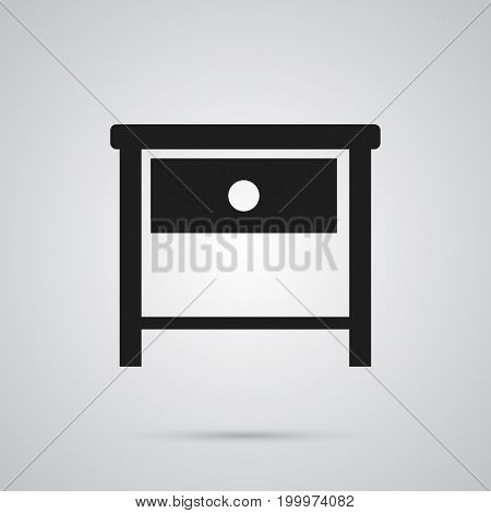Vector Bedside Table Element In Trendy Style.  Isolated Nightstand Icon Symbol On Clean Background.