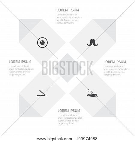 Icon Beauty Set Of Look, Mustache, Shaving And Other Vector Objects