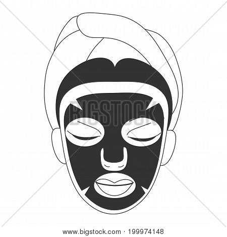 Vector illustration for cosmetic face care in line art style: woman face with black sheet mask on. Black facial sheet mask  could be a Volcanic, Black pearl or Charcoal one for deep skin pore care.