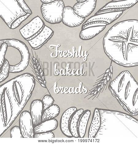 Hand drawn decorative fresh bread bakery . Vector Illustration.