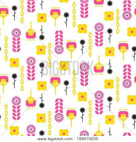 Scandinavian folk floral art pattern seamless vector background. Abstract pink and yellow flowers for print on textile.