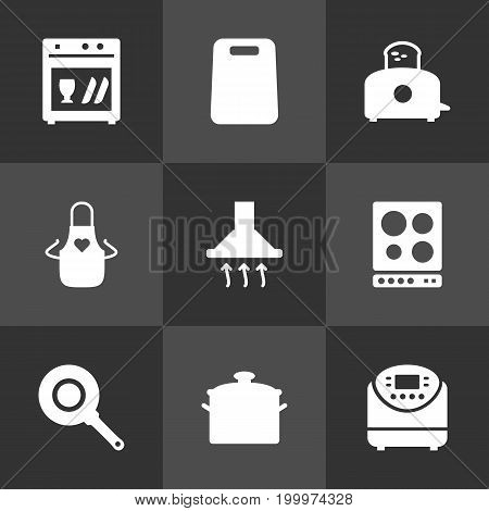 Collection Of Pinafore, Skillet, Pan And Other Elements.  Set Of 9 Cooking Icons Set.