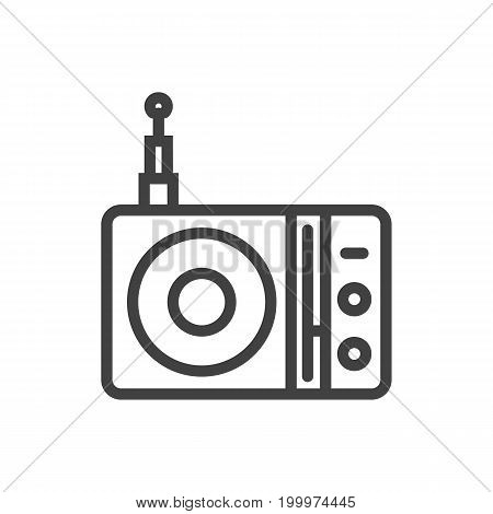 Vector Station  Element In Trendy Style.  Isolated Radio Outline Symbol On Clean Background.