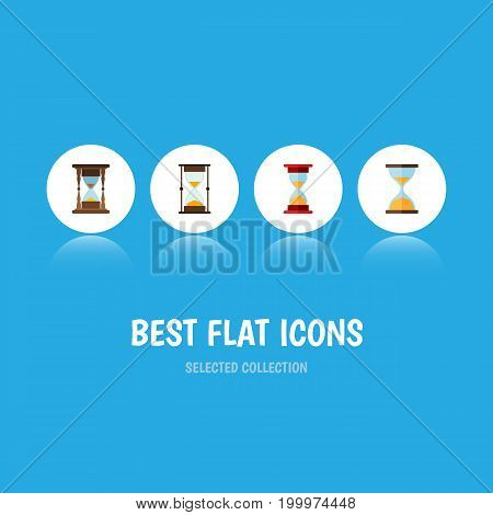 Flat Icon Hourglass Set Of Loading, Minute Measuring, Clock And Other Vector Objects