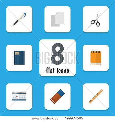 Flat Icon Stationery Set Of Copybook, Notepaper, Rubber And Other Vector Objects