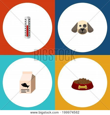 Flat Icon Animal Set Of Temperature Measurement, Fish Nutrient, Dog Food And Other Vector Objects