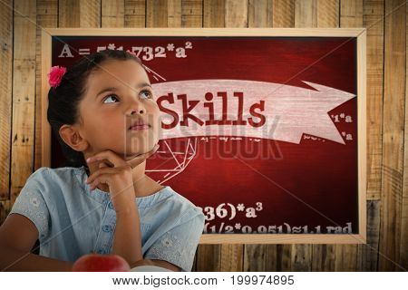Thoughtful girl against white background against skills against desk
