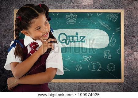 Thoughtful schoolgirl over white background against quiz against green chalkboard
