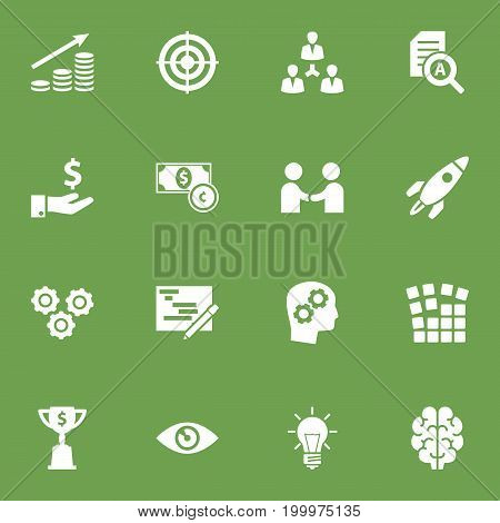 Collection Of Unity, Writing, Gear And Other Elements.  Set Of 16 Strategy Icons Set.