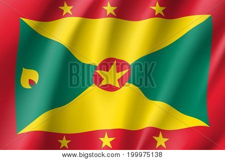 Flag Grenada realistic icon. State insignia of the nation in realistic style on the entire page. Waving state flag. National symbol in the form of a vector illustration