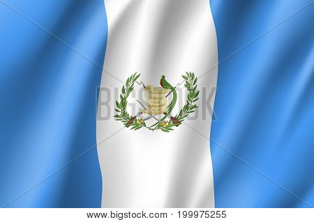 Flag Guatemala realistic icon. State insignia of the nation in realistic style on the entire page. Waving state flag. National symbol in the form of a vector illustration