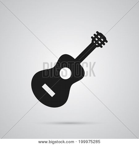 Vector Acoustic Element In Trendy Style.  Isolated Guitar Icon Symbol On Clean Background.