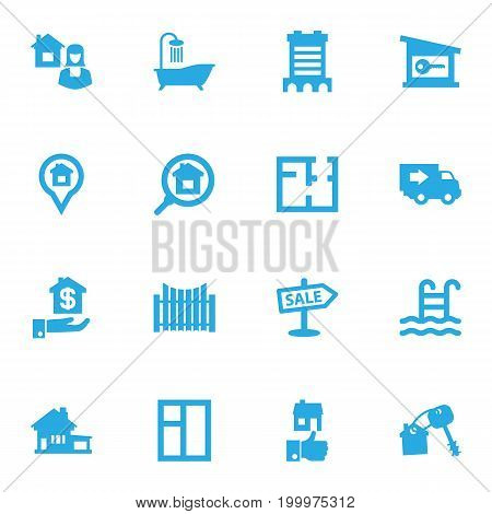 Collection Of Lock, Home, Truck And Other Elements.  Set Of 16 Real Icons Set.