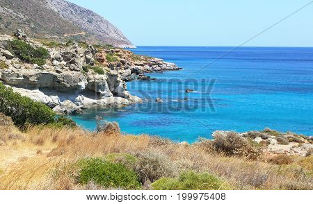 landscape of Petrified forest Lakonia Peloponnese Greece