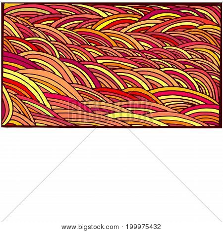 Bright colorful abstraction doodle frame cartoon pattern lines yellow orange red crimson color isolated on white background. Vector hand drawn illustration