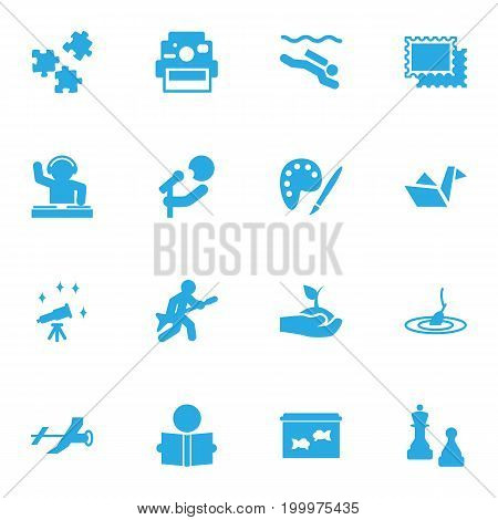 Collection Of Telescope, Plant, Flying And Other Elements.  Set Of 16 Hobbie Icons Set.