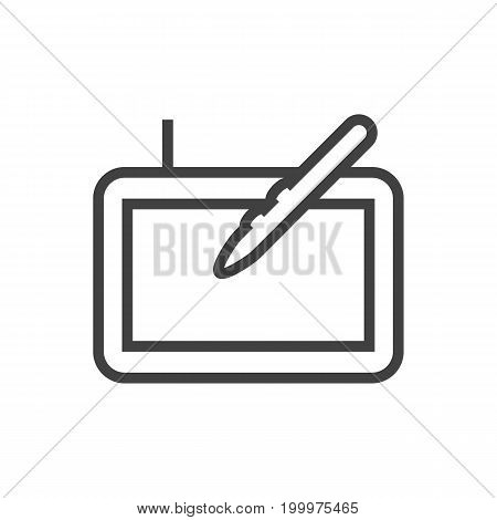 Vector Graphic Tablet Element In Trendy Style.  Isolated Gadget Outline Symbol On Clean Background.