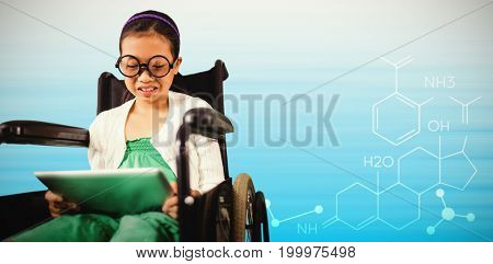 Young girl looking at digital tablet against composite image of abstract backgrounds