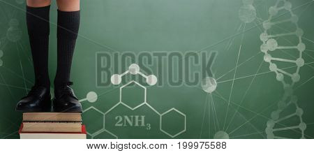 Low section of schoolboy standing on books against green chalkboard