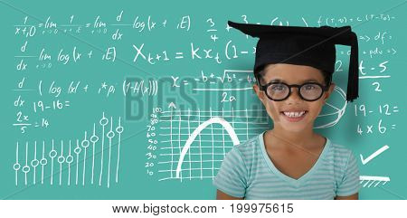 Portrait of cheerful girl wearing eyeglasses and mortarboard against blue background