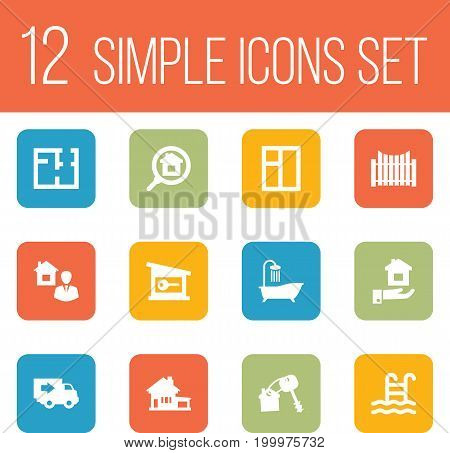 Collection Of Bath, Mortgage, Home And Other Elements.  Set Of 12 Estate Icons Set.