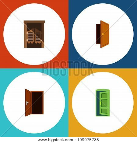 Flat Icon Door Set Of Frame, Saloon, Entry And Other Vector Objects