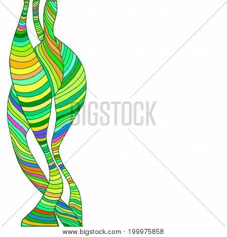 Abstract bright multicolored waves lines decorative frame psychedelic style isolated on white background. Vector hand drawn illustration
