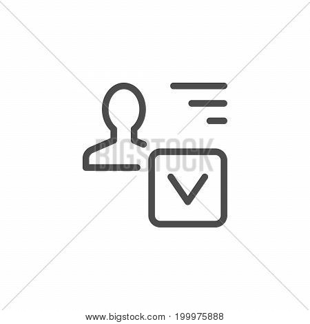 Approved person line icon isolated on white. Vector illustration