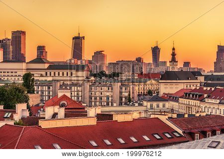 Warsaw, Poland: aerial view of downtown in the sunset
