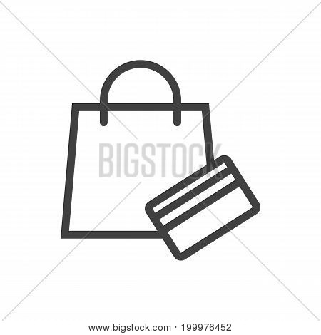 Vector Shopping Element In Trendy Style.  Isolated Payment Outline Symbol On Clean Background.
