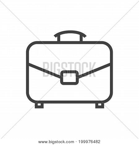 Vector Portfolio Element In Trendy Style.  Isolated Briefcase Outline Symbol On Clean Background.