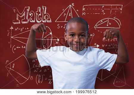 Portrait of boy flexing muscles against geometric shapes with math text