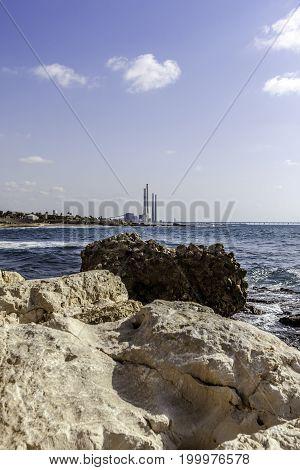 Hadera power station chimneys from Caesarea national park shore