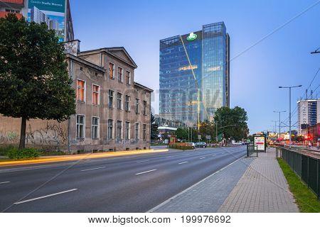 GDANSK, POLAND - AUGUST 11, 2017: Traffic lights of Grunwaldzka Avenue in Gdansk at sunset, Poland. Grunwaldzka Avenue is the main transport artery of the Tri-City.