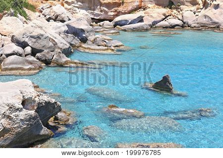 transparent turquoise sea at Petrified forest Lakonia Peloponnese Greece