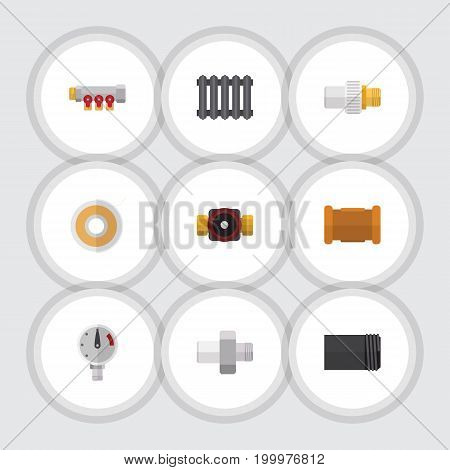 Flat Icon Pipeline Set Of Tube, Industry, Tap And Other Vector Objects