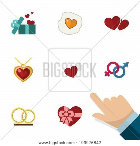 Flat Icon Love Set Of Soul, Wings, Necklace And Other Vector Objects