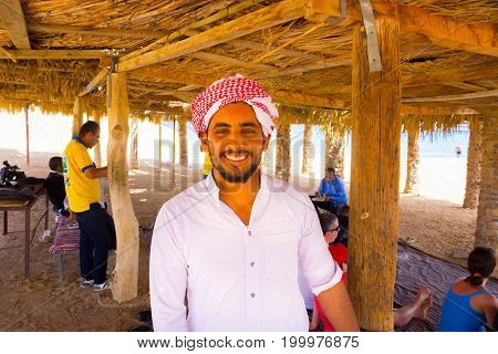 Ras Muhammad, Egypt - April 10, 2017: The bedouin cooking dinner at Ras Muhammad National Park at Egypt on April 10, 2017