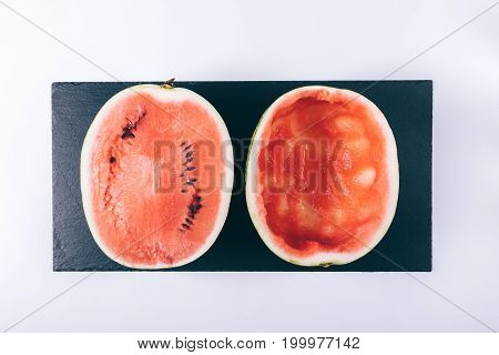 Sliced Ripe Watermelon On A White Table