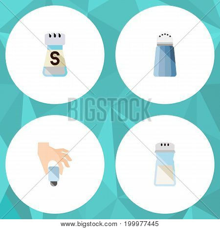 Flat Icon Sodium Set Of Pour, Shaker, Salt And Other Vector Objects