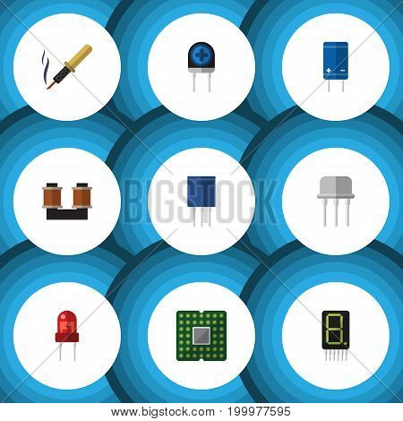 Flat Icon Technology Set Of Receptacle, Transducer, Display And Other Vector Objects