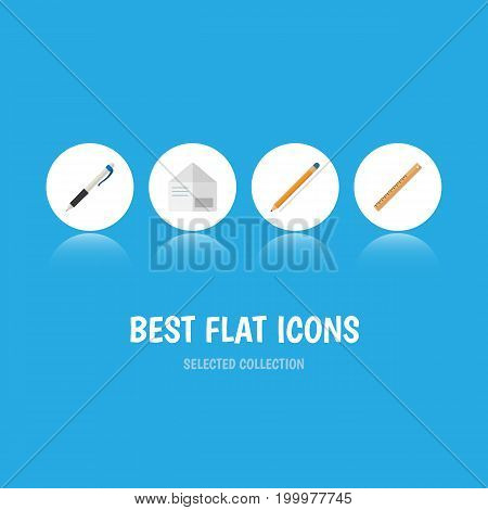 Flat Icon Equipment Set Of Drawing Tool, Letter, Straightedge And Other Vector Objects
