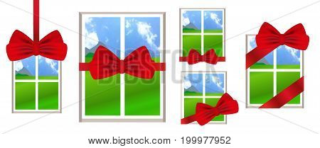 Window with red ribbon and bow as a gift with a landscape view. Set illustrations over white background. Vector.